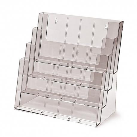 4 skyrių A4 horizontalus pastatomas bukletų laikiklis